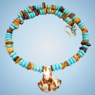 Gorgeous Natural Turquoise Amber Sterling Silver Shell Vintage Pendant Necklace