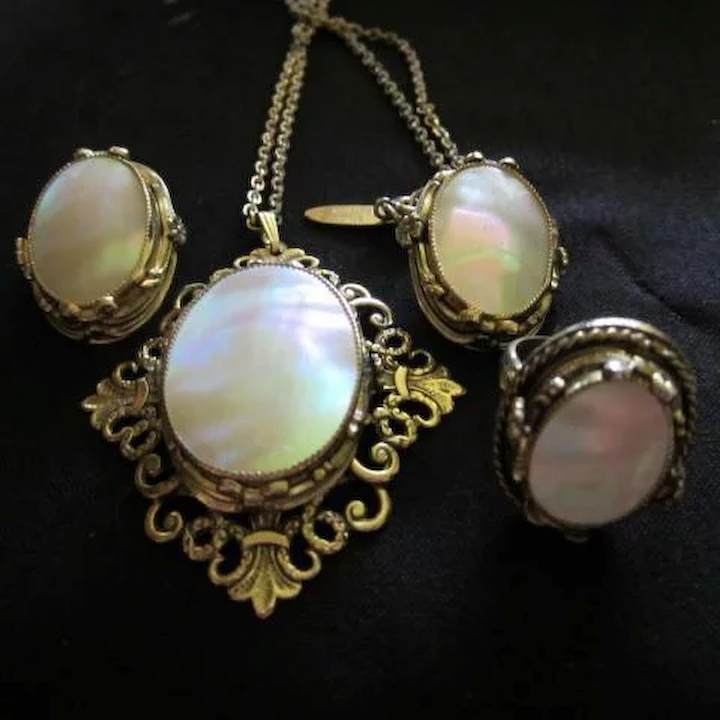 fb989405e4754 Whiting and Davis Mother of Pearl Necklace Earrings Ring Set