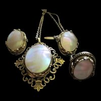 Whiting and Davis Mother of Pearl Necklace Earrings Ring Set