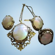 Whiting and Davis Signed Mother of Pearl Parure Vintage Necklace Earrings Ring Set