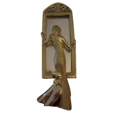 Elegant Lady in Mirror Art Deco Style Gold tone Vintage Brooch Pin Book Piece