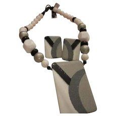 Modernist Fired Glass Enamel Statement Piece Lucite Beads Gray tones Matching Earrings Vintage Set Demi Parure