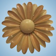 Huge 1960s Enamel Flower Daisy Vintage Brooch Pin