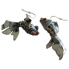 Fabulous Chinese Enamel Silver Articulated Koi Fantail Fish Figural Vintage Earrings
