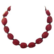 Gorgeous Substantial Red Coral Sterling Silver Clasp Necklace
