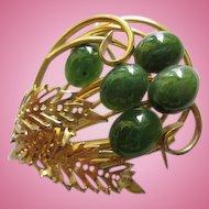 Beautiful Swoboda Genuine Jade Cabochons Gold Plated Vintage Brooch Pin