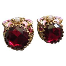 Stunning West Germany Ruby Red Faceted Swarovski Crystals Enamel Vintage Clip Earrings Signed