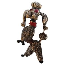 Sassy Classy 1950s Rhinestone Enamel Textured Spaghetti Figural Poodle Brooch