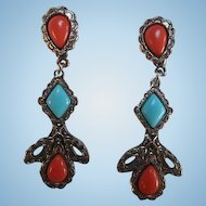 Fabulous fx Coral and Turquoise Silver tone Hanging Vintage Clip Earrings