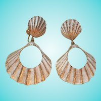 Fabulous Seashell Enamel Gold tone Door Knocker Vintage Statement Earrings