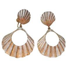 Fabulous Seashell Enamel Gold tone Door Knocker Vintage Statement Earrings