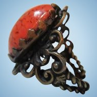 Fabulous Huge Salmon or Coral Dragon's Egg Oval High Domed Cab Ornate Brass Vintage Adjustable Ring