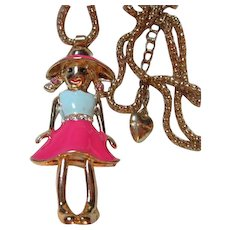 Betsey Johnson Signed Articulated pigtail Girl Enamel Vintage Necklace