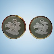 Classic Jasperware Green Wedgewood Gilt Gold over Sterling Silver Chariot Vintage Cufflinks Patent