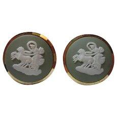 Classic Jasperware Green Wedgewood Gilt Gold Sterling Silver Chariot Cufflinks Patent