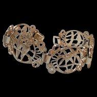 Signed Tropical Panel  Eloxal Figural Vintage Bracelet Germany