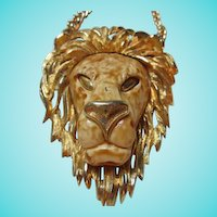 Razza Signed Huge Lion Statement Runway Vintage Necklace