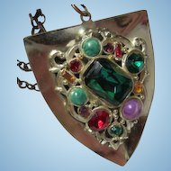 Vintage Jeweled Shield Statement Pendant Necklace Rolo Chain