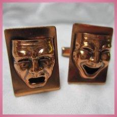 Fabulous Comedy Tragedy Mask Copper Vintage Cufflinks