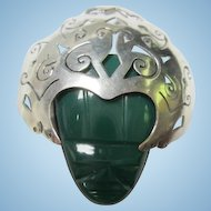 Substantial Green Onyx Sterling Silver Face Mask Elaborate Signed Vintage Brooch Pin