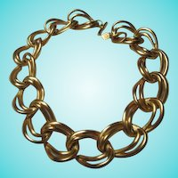 Anne Klein Bold Double Chain Modernist Statement Necklace