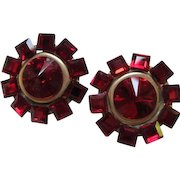 Glamorous Ruby Red Inverted Swarovski Crystal Center Vintage Statement Couture Earrings