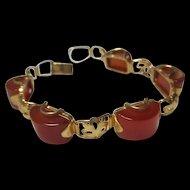 Gorgeous Art Deco Carnelian Half Round Decorated Gold Plated Vintage Bracelet
