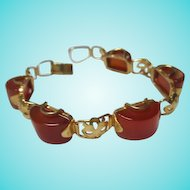 Gorgeous Art Deco Carnelian Half Round Decorated Gold Plated Vintage Bracelet