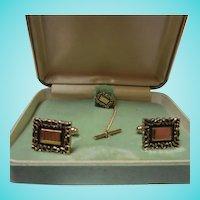 Anson Gold plated Cufflinks Tie Tac Original Vintage Box