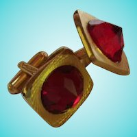 Fabulous Ruby Red Signed Austria Inverted Crystal Vintage Cufflinks.