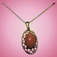 Krementz Genuine Coral Pendant Gold Filled 19 inch Chain Vintage Necklace Original Box NOS