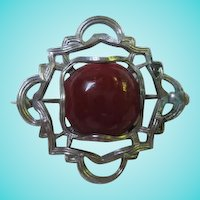 Delightful Art Nouveau Silver Rose Colored Stone Vintage C Clasp Brooch Pin
