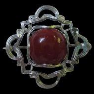 Delightful Art Nouveau Silver Rose Colored Stone Vintage C Clasp Brooch Pin