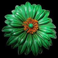Fabulous Huge Green Orange Flower Power 1960s Enamel Statement Vintage Brooch Pin