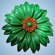 Fabulous Huge Green Orange Flower Power 1960s Enamel Statement Vintage Brooch Pin