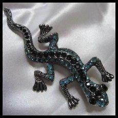 Austrian Crystal Rhinestone Encrusted Lizard Iguana Brooch