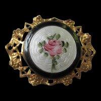 Guilloche Enamel Rose Art Nouveau Style Vintage Brooch Pin