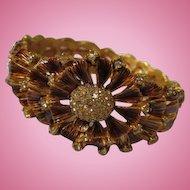 Stunning Golden Bronze Enamel Flower Pave Crystal Center Vintage Bangle Bracelet