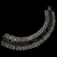 Gorgeous Wide Austrian Crystal Black and Clear Rhinestone Vintage Bracelet