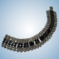 Gorgeous Wide Austrian Crystal Black and Clear Rhinestone Vintage Bracelet