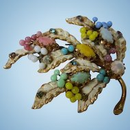 Gorgeous Austria Signed Enamel Hand Wired Glass Beads Rhinestone Pastel Vintage Brooch Pin