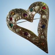 Gorgeous Huge Statement Jeweled Textured Gold Plated Heart Vintage Brooch Pin