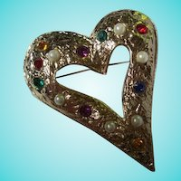 Huge Statement Jeweled Textured Heart Brooch