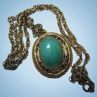 Gorgeous Peking Glass fx Jadeite Oval Pendant Multi Pong set on Chain Vintage Pendant Necklace