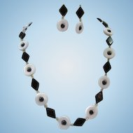 Black and White Lucite Geometric Vintage Necklace and Pierced Dangle Earrings Set 1960s
