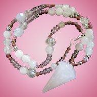 Gorgeous 25 carat Rose Quartz Pendant Necklace