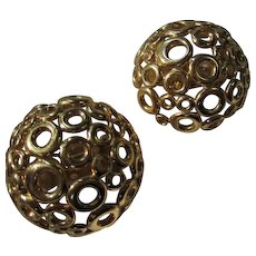 Givenchy Signed Runway Couture Statement French Designer Gold Plated Vintage Earrings