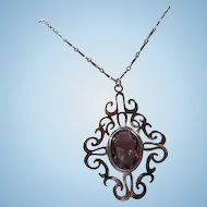 Royal Flair Faceted Amethyst Crystal Silver Plate Statement Signed Vintage Pendant Necklace