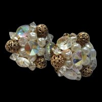 Gorgeous AB Crystal Points Up fx Pearl Filigree Vintage Clip Earrings