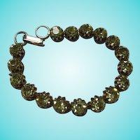 Sparkling Peridot Austrian Crystal Rhinestone Line Vintage Bracelet Gorgeous